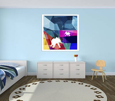 Private Room Digital Art - Playful Baby Elephants/art On A Wall 11 by Begonia Lafuente