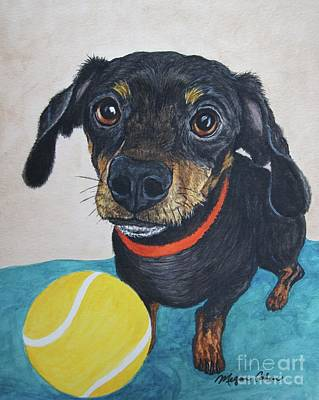 Dog Painting - Playful Dachshund by Megan Cohen