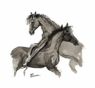 Horses Drawing - Playful Foals 2011 09 by Angel Tarantella