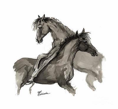 Animals Drawings - Playful foals 2011 09 by Angel Ciesniarska