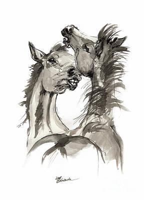 Animals Drawings - Playful foals  by Angel Ciesniarska