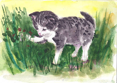 Painting - Playful Kitten by Asha Sudhaker Shenoy