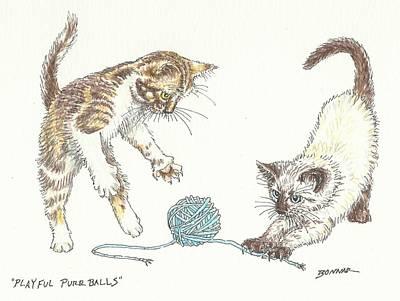 Playful Purrballs Art Print by Sue Bonnar