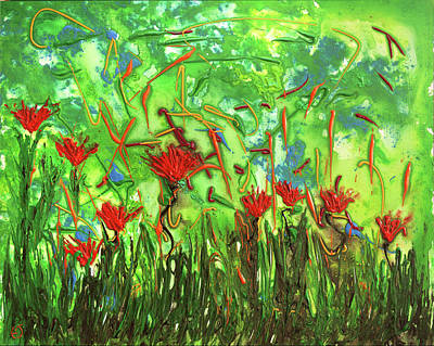 Painting - Playful Red Flowers by Erik Tanghe