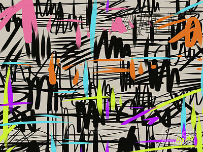 Painting - Playful Scribbles by Go Van Kampen