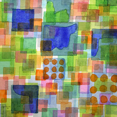 Playful Squares  Art Print by Heidi Capitaine