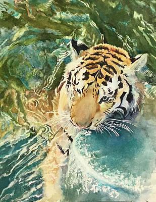 Wall Art - Painting - Playful Tiger by Nancy Delgado