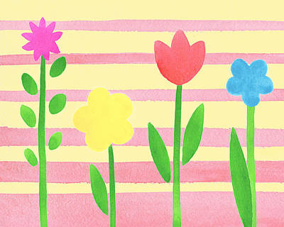 Alphabet Flash Cards Painting - Playground Flowers by Irina Sztukowski