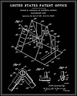 Playground Digital Art - Playground Patent - Black by Finlay McNevin