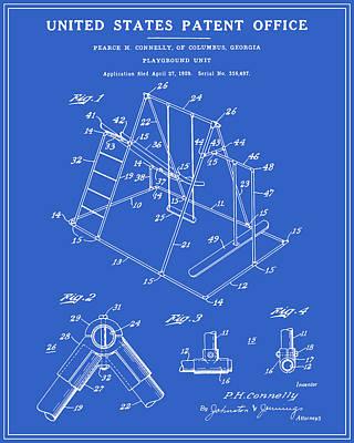 Playground Digital Art - Playground Patent - Blueprint by Finlay McNevin