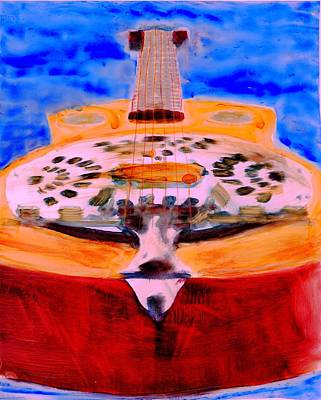 Art Print featuring the painting Playin The Blues by FeatherStone Studio Julie A Miller