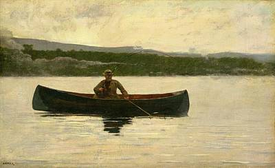 Reflecting Water Painting - Playing A Fish by Winslow Homer