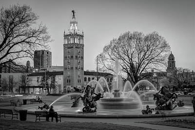Photograph - Playing At The J.c. Nichols Memorial Fountain - Kansas City Plaza - Black And White by Gregory Ballos