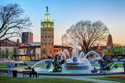 Photograph - Playing At The J.c. Nichols Memorial Fountain - Kansas City Plaza by Gregory Ballos