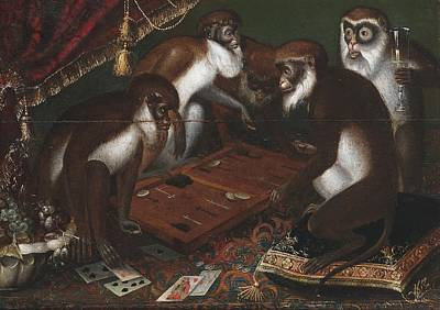 Backgammon Painting - Playing Baboons by MotionAge Designs