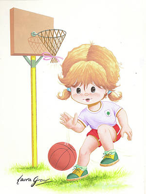 Painting - Playing Basketball by Laura Greco
