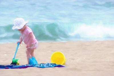 Little Girl On Beach Painting - Playing By The Surf by Chrystyne Novack