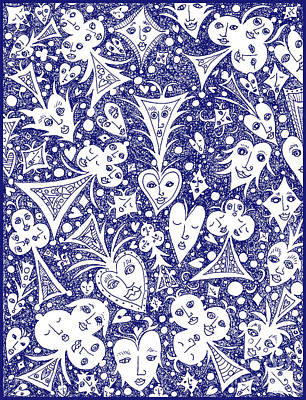 Drawing - Playing Card Symbols With Faces In Blue by Lise Winne