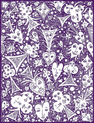 Drawing - Playing Card Symbols With Faces In Purple by Lise Winne