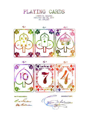 Playing Cards  Patent Drawing From 1877 - Rainbow Art Print by Aged Pixel