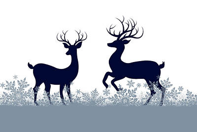 Christmas Cards Digital Art - Playing Christmas Deer by Chastity Hoff