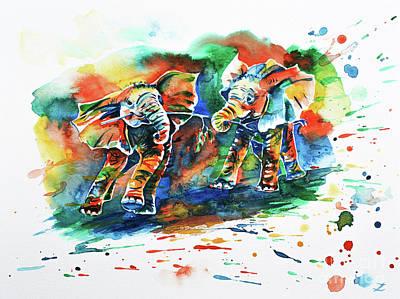 Painting - Playing Elephant Babies  by Zaira Dzhaubaeva