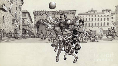 Playing Football In Florence  Art Print