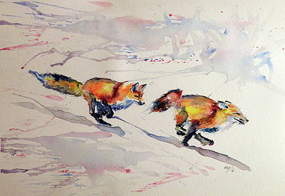 Red Fox Painting - Playing Foxes by Kovacs Anna Brigitta