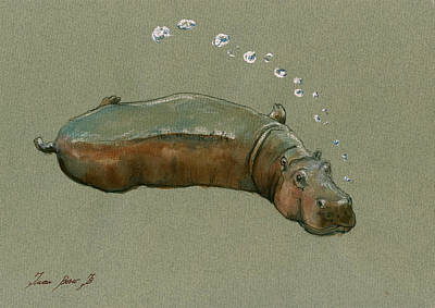 Decals Painting - Playing Hippo by Juan  Bosco