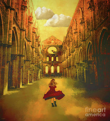 Little Girls Room Mixed Media - Playing In The Abbey Ruins by KaFra Art