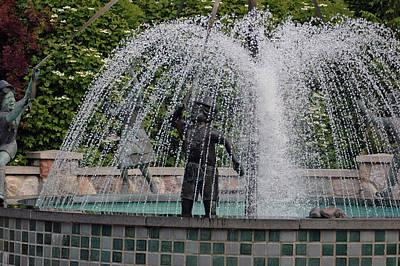 Copper Photograph - Playing In The Fountain Michigan by LeeAnn McLaneGoetz McLaneGoetzStudioLLCcom
