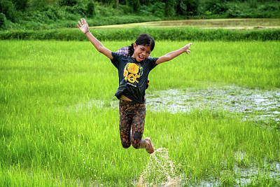 Lee Craker Royalty-Free and Rights-Managed Images - Playing in the Rice Fields by Lee Craker