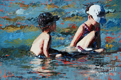 Girl Painting - Playing In The Shallows IIi by Claire McCall