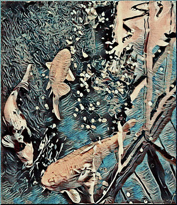 Art Print featuring the digital art Playing It Koi by Mindy Newman