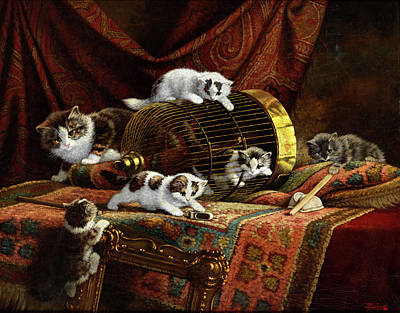 Caring Mother Painting - Playing Kittens by Cornelis Raaphorst