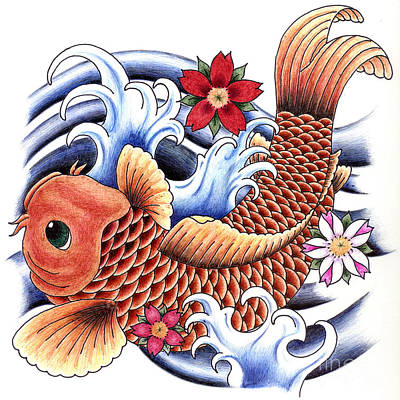 Drawing - Playing Koi by Maria Arango