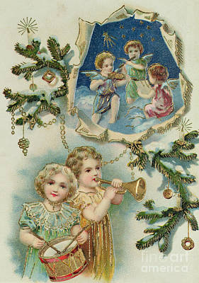 Trumpet Painting - Playing Musical Instruments, Victorian Christmas Card by English School