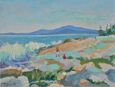 Painting - Playing On Schoodic Rocks by Francine Frank