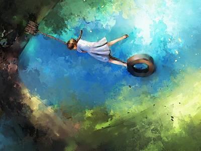 Child Swinging Digital Art - Playing On Swings by Ekkawat Ritnetikul