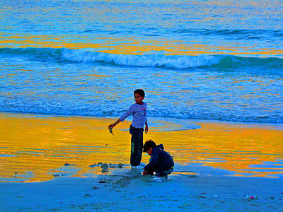Playing On The Beach Art Print by Michael Durst