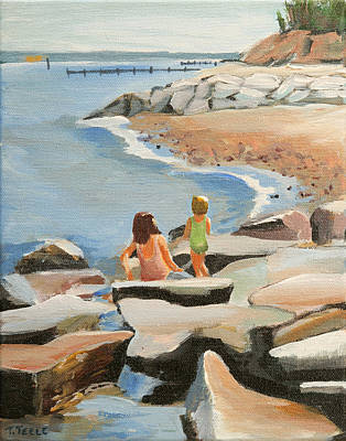 Painting - Playing On The Jetties by Trina Teele