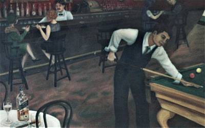 Painting - Playing Pool In The Bar by Suzn Art Memorial