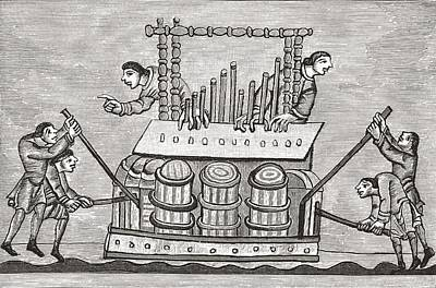 Musicians Playing Drawing - Playing The Organ Ad 1130 - 1174. From by Vintage Design Pics