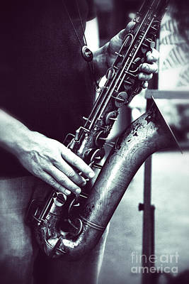 Photograph - Playing The Saxophone by Jerry Cowart