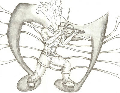 Musicians Drawings - Playing With Fire by Chris Caballero