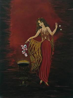 Erte Painting - Playing With Fire by Rosie Harper