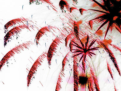 Photograph - Playing With Fireworks 17 by Mary Bedy