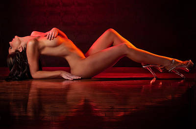 Fine Art Nude Figure Study Photograph - Playing With Light And Reflection by Mark Bradley