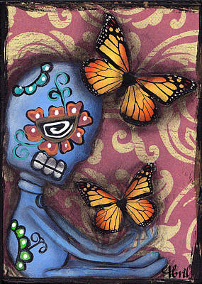 Monarch Butterfly Painting - Playing With Monarchs by  Abril Andrade Griffith