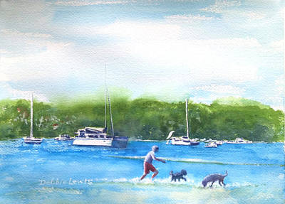 Painting - Playing With The Dogs At Rose Bay by Debbie Lewis